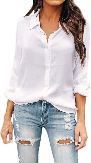Blusa de Mujer Camisa de Manga Larga para Mujer Formal Oficina Trabajo Uniforme Señoras Casual Tops Camisetas de Manga Larga de Solapa de Moda para ZODOF Mujer Shirt: Amazon.es: Ropa y accesorios