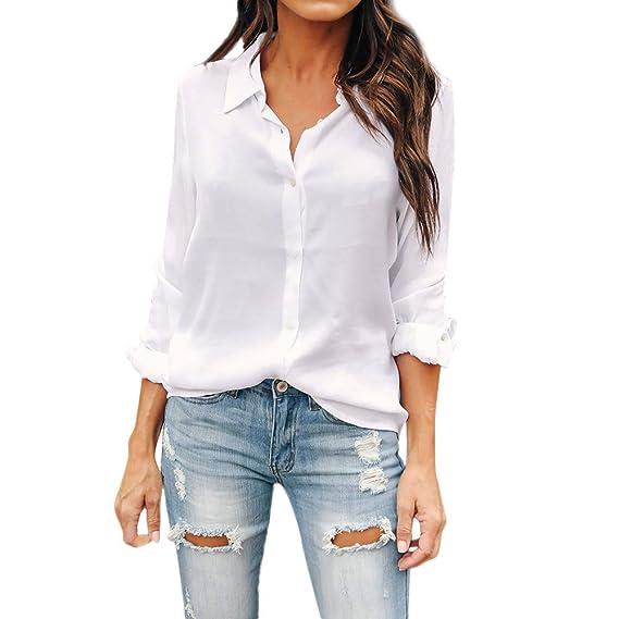 f2e118743 Blusa de Mujer Camisa de Manga Larga para Mujer Formal Oficina Trabajo  Uniforme Señoras Casual Tops Camisetas de Manga Larga de Solapa de Moda  para ...