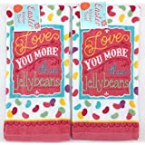 Soft and Absorbent Velour Cotton Kitchen Dish Towels, 2 Pc. Set: Happy Easter Colorful