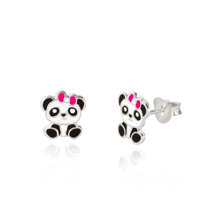 Pendientes de plata de ley con diseño de oso panda esmaltado para niños, con caja de regalo Andra Jewels