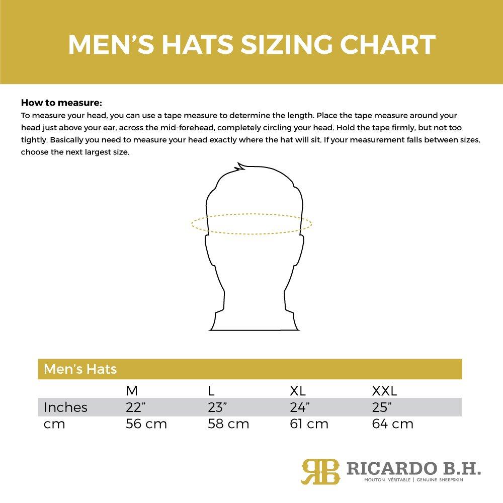 Genuine Sheepskin Trooper Hat large Ricardo B.H Brown tone for Men