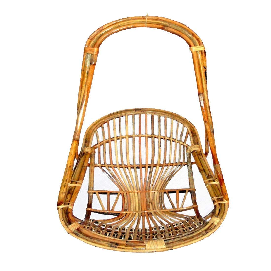 All India Handicrafts Bamboo Cane Swing Chair With Cushion Brown Hmcss039c Amazon In Electronics