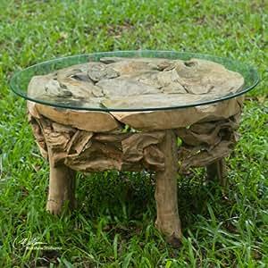 Amazon.com: Uttermost Teak Root Round Coffee Table ...