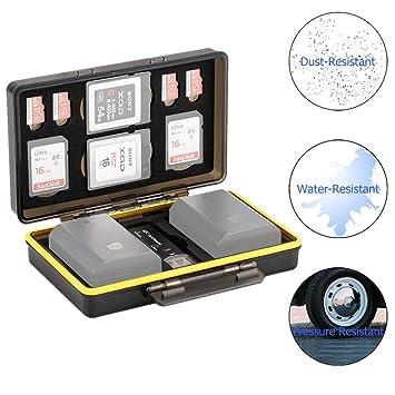 Tarjetero SD para 2 Tarjetas SD / 4 Micro SD / 2 XQD + 2 Baterías Canon LP-E6 LP-E8 LP-E12 LP-E17 NB-13L Sony NP-FZ100 NP-FW50 NP-BX1 Fujifilm NP-W126 ...