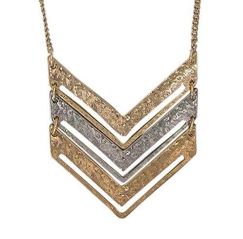 Amazon.com  SPUNKYsoul Chevron Necklace (Gold Chain Mixed Medal ... 9a43270c50