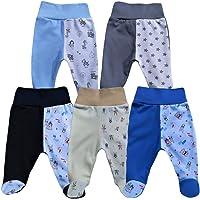 MEA BABY Pantalones para bebé unisex con pie para bebé, pack de 5 unidades, con pie