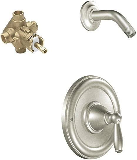 Brantford Single Handle 1 Spray Posi Temp Shower Faucet Trim Kit With Valve In Brushed Nickel Valve Included Amazon Com