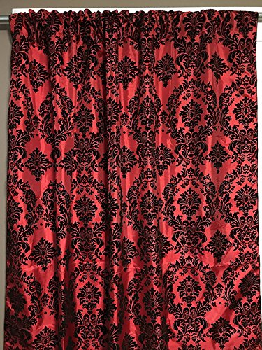 lovemyfabric Taffeta Flocking Damask Print Window Curtain Panel/Stage Backdrop/Photography Backdrop-Black on Red (1, 56
