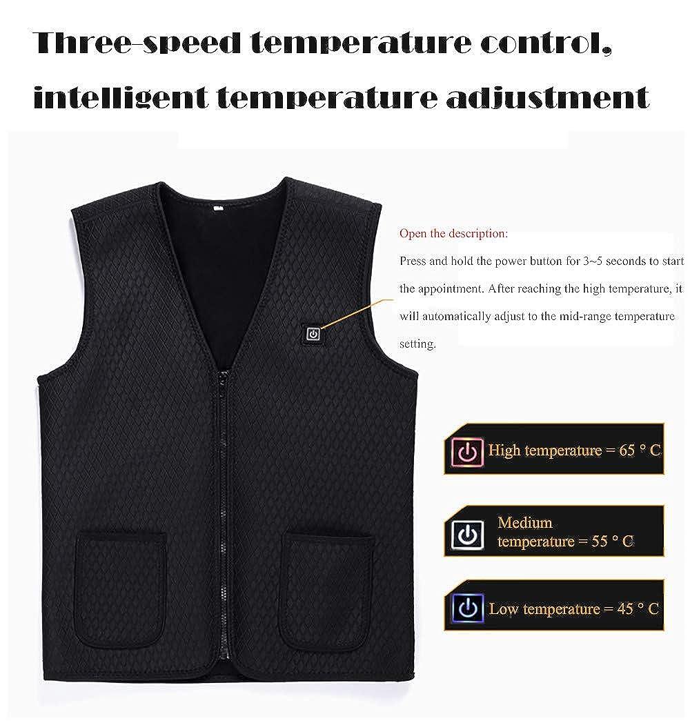 Sumen Women Men Zip Up Velvet Warm Waistcoat Electric Heating Vest Unisex USB Charging Heating Vest