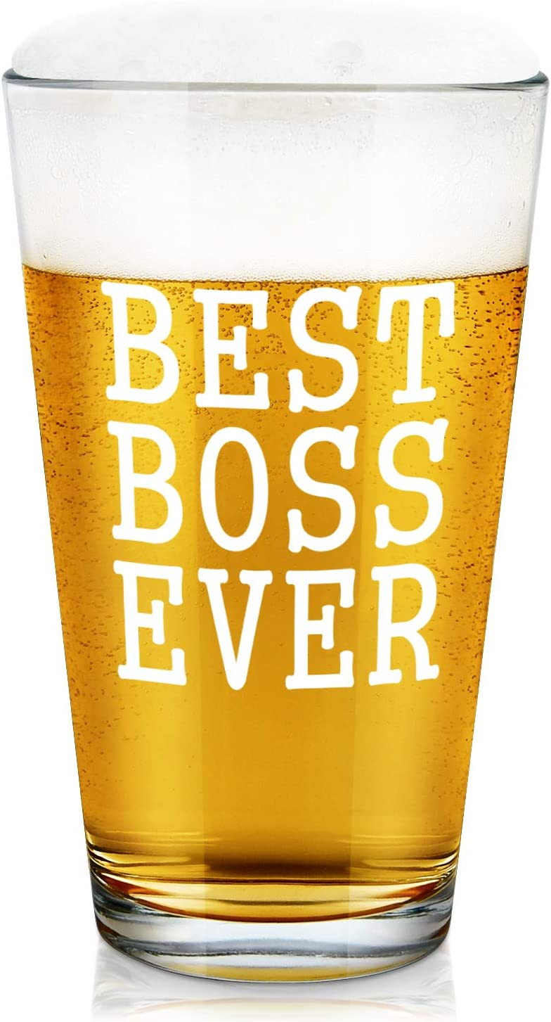 Beer Gifts for Boss, Best Boss Ever Beer Glass for Male Female Boss Men Women Coworkers Party Christmas Birthday, Office Gift Idea for Bosses Day or Daily Use, 15Oz