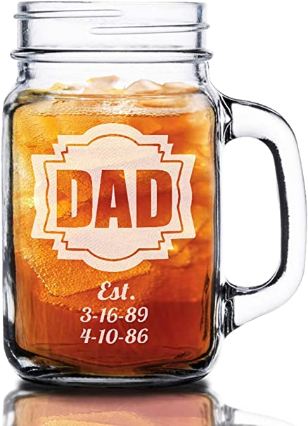 Amazon Com 16 Oz Dad Fathers Day Idea Engraved Mason Jar Beer Mug Personalized Drinking Glass Etched For Father Grandpa Kids Birthdates 16 Oz Kitchen Dining