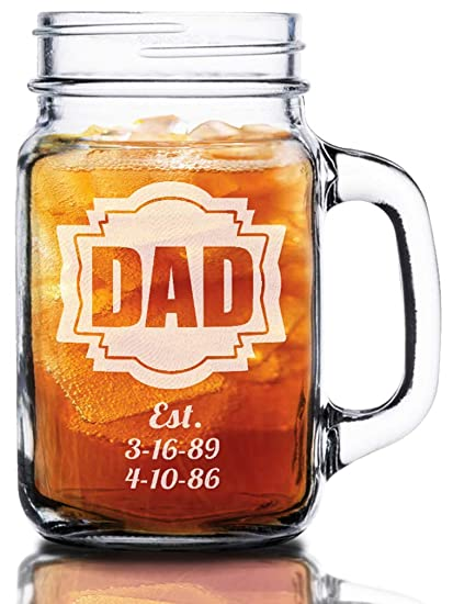 amazon com 16 oz dad fathers day gift idea engraved mason jar beer