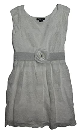 6c6b83f04ff3c Amazon.com: Sequin Hearts Girls' Belted Lace Sleeveless Dress Size 8 ...