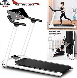 "sakd Under Desk Treadmill, 51"" White Elegant Folding Treadmill with Slanted LCD Screen, Foldable Electric Motorized Treadmill & Installation-Free Portable Walking/Running Trainer"