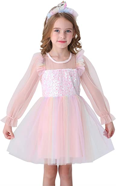 Girls Long Sleeve Black Ribbed Cotton and Tulle Dress with a Silver Sequin Star Applique On Chest Toddler Flower Girl Dress