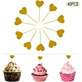 Ldoux 40 PACK Heart Shaped Cupcake Toppers Toothpicks Food Picks Golden Glitter,for Wedding,Bridal Birthday Party or Baby Shower Decoration