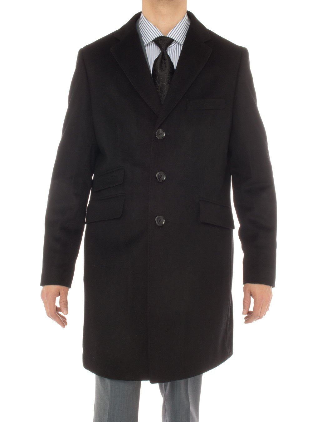 Luciano Natazzi Men's Cashmere Topcoat Modern Ticket Pocket Trench Coat Overcoat (44 US - 54 EU, Black) by Luciano Natazzi
