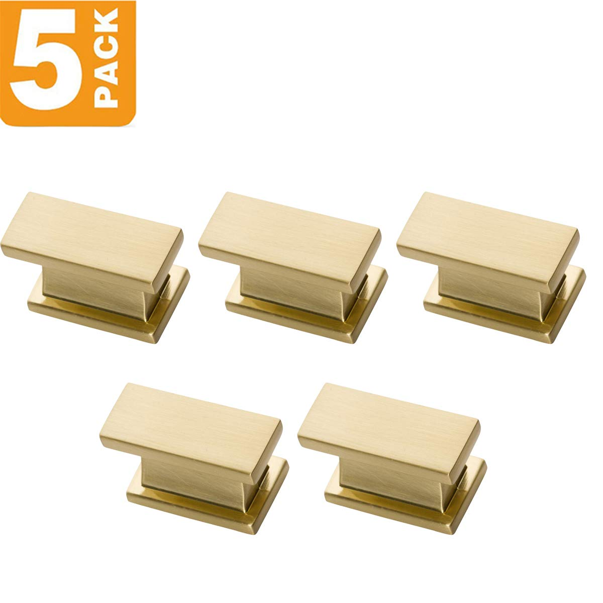 Southern Hills Satin Brass Cabinet Knobs - Rectangle - Pack of 5 - Brushed Brass Kitchen Cabinet Knobs - Cabinet Hardware Pulls - SHKM001-BRS-5 by Southern Hills (Image #2)