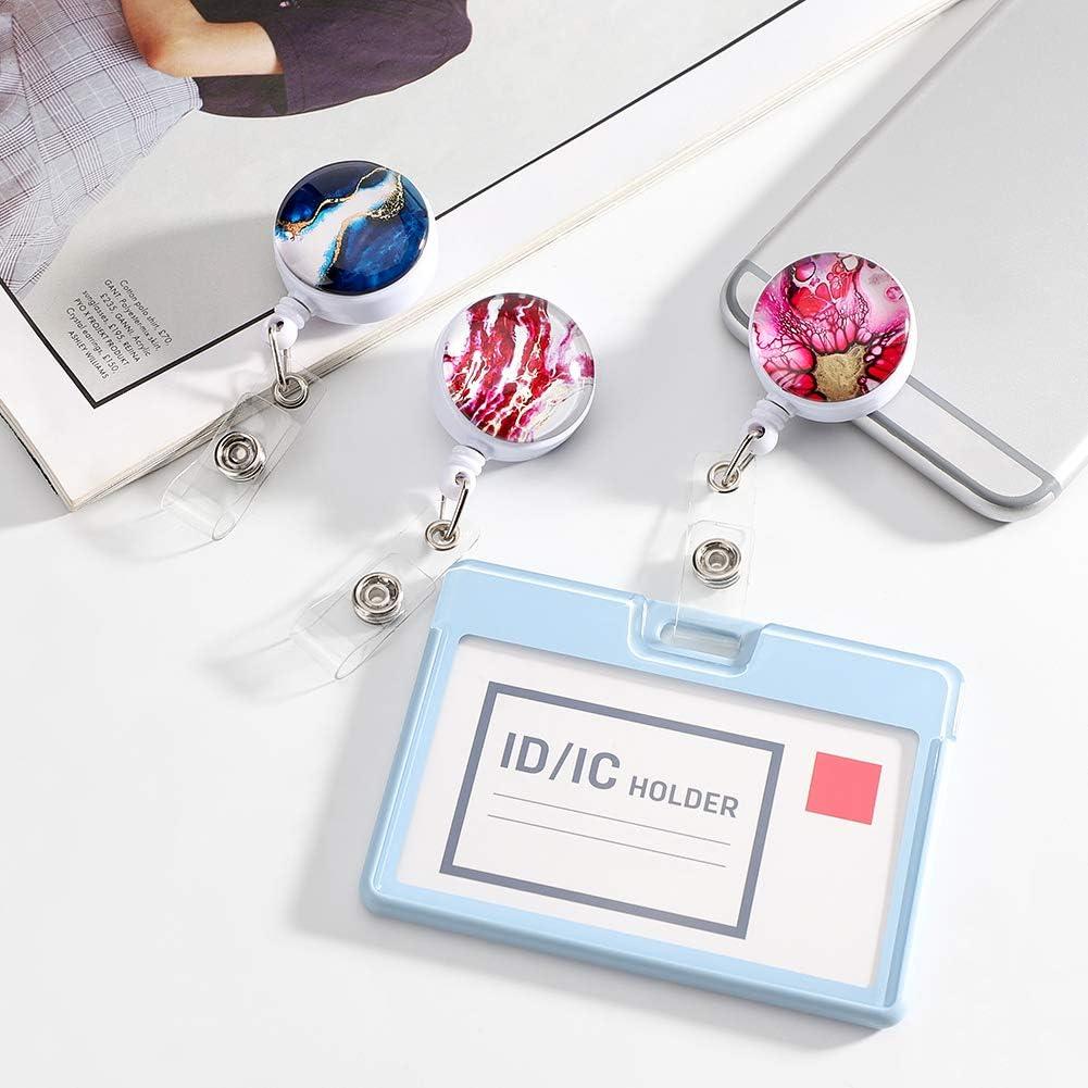 Marbre Style Badge R/étractable pour Infirmi/ère Artscope 12 Pi/èces Porte-Badge R/étractable Style 1 Porte-Badge Didentification avec Clip de Ceinture