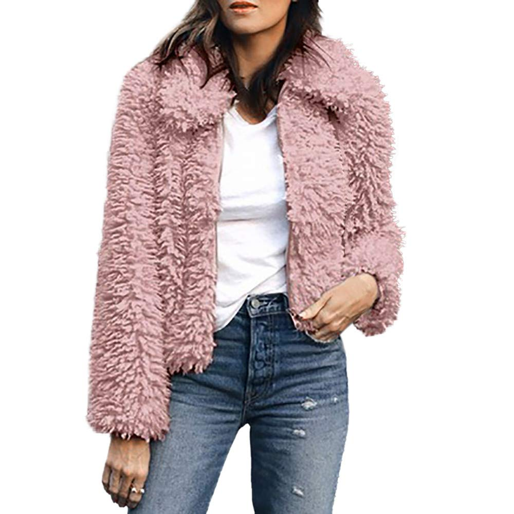 Amazon.com: Women Warm Artificial Wool Sweaters Top Coat ...