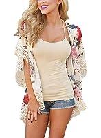 EVALESS Women's Floral Print Chiffon Loose Kimono Cardigan Blouse Beach Cover Up