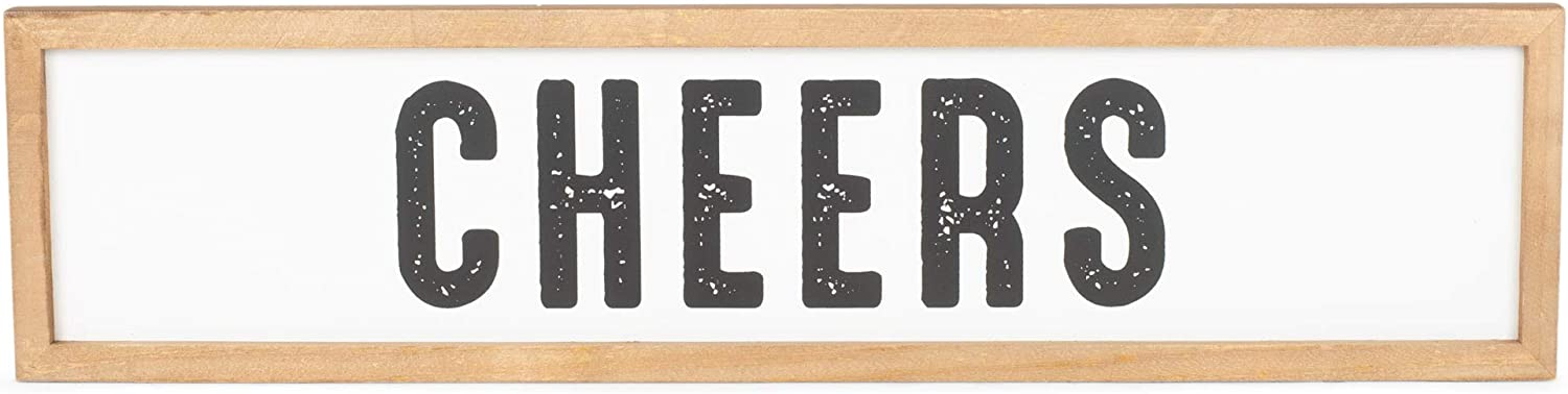Cheers Distress Black 6 x 25 Wood Decorative Wall or Tabletop Sign
