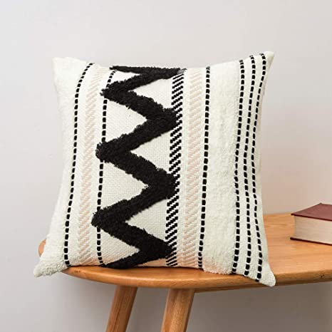 Blue Page Morocco Tufted Boho Throw Pillow Covers 18x18 Inch Bohemian Woven Pillow Cases Accent Pillows For Bed Modern Tribal Textured Decorative Square Pillows Cover Only Black Off White Home