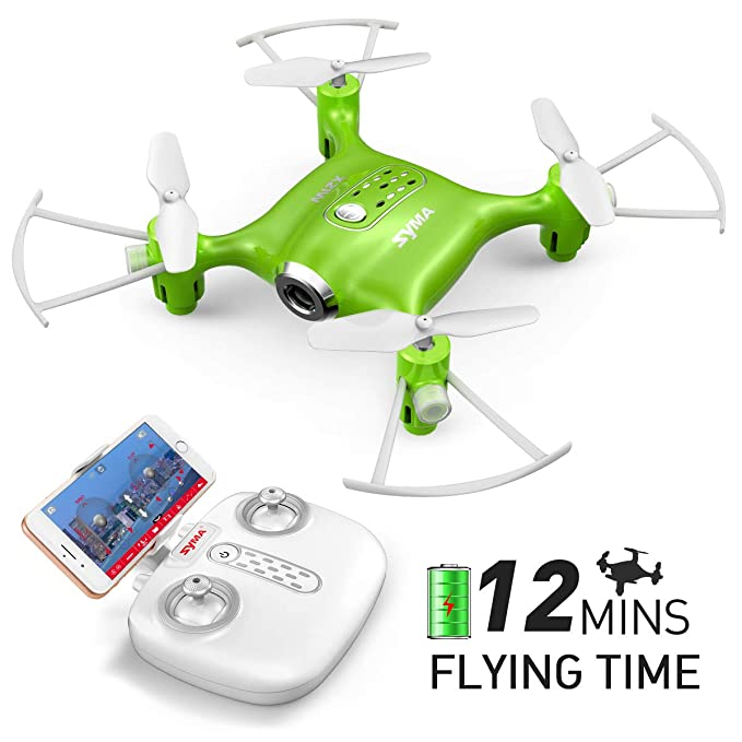 Mini Micro Drone con Camara Syma X21W RC Cuadricoptero para niños con Wifi FPV, Modo sin cabeza, Plan de vuelo, Control de APP, Un botón de despegue / aterrizaje y retención de altitud(Verde)