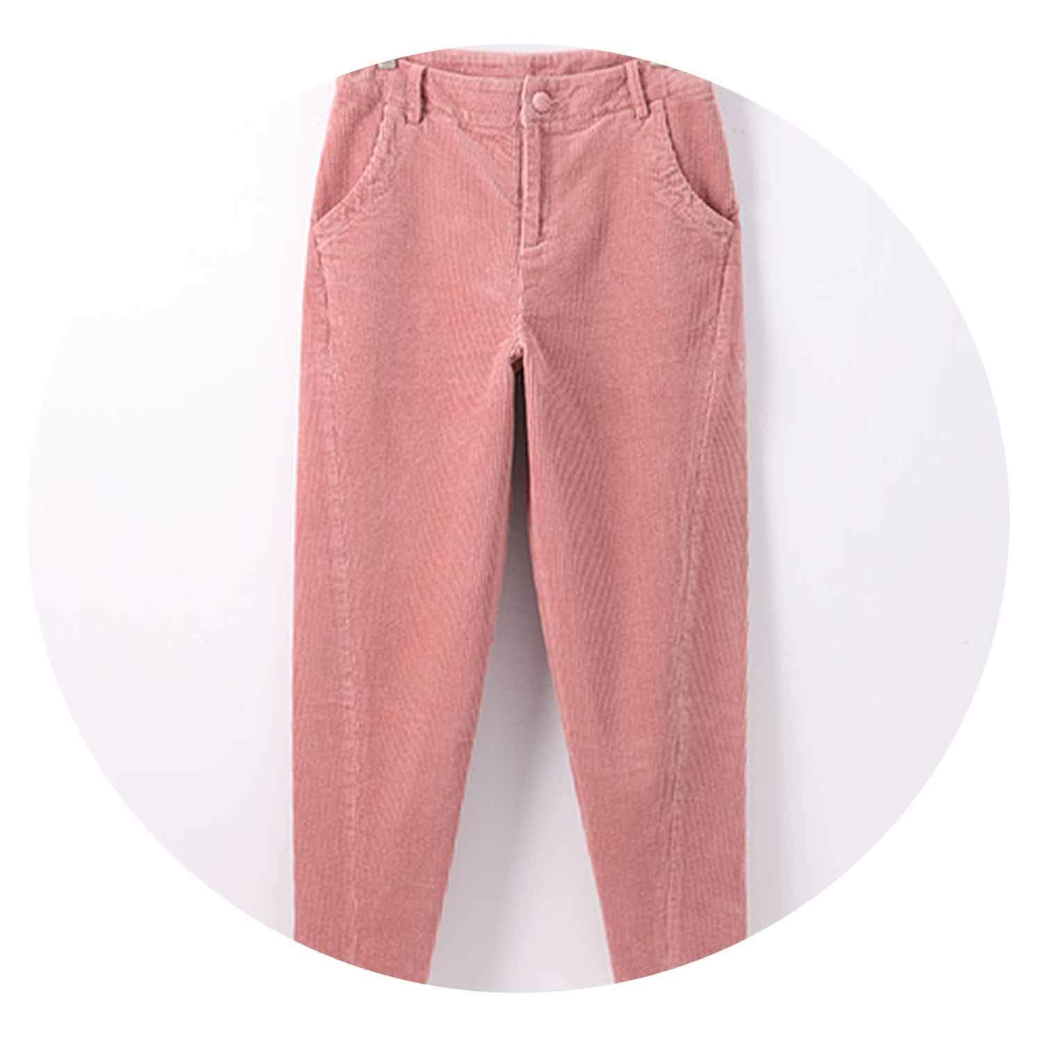 e8bca6d8 Harem Pants Women's Trousers with High Waist Loose Casual Corduroy Pants,  Pink, 29 at Amazon Women's Clothing store:
