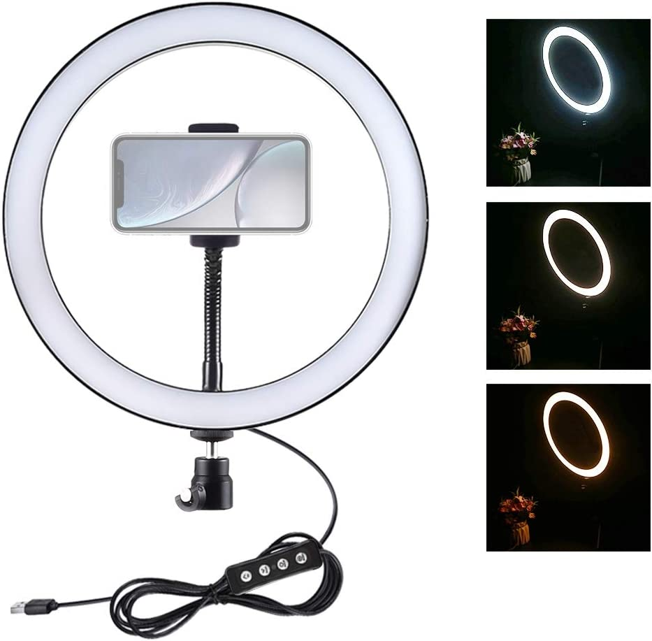 XIAOMIN 12 inch USB 3 Modes Dimmable LED Ring Vlogging Selfie Photography Video Lights with Cold Shoe Tripod Ball Head/& Phone Clamp Premium Material