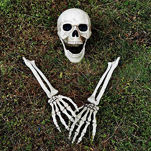 Halloween Headstones Make Your Own (yosager Realistic Skull and Skeleton Arms Stakes, Indoor Outdoor Graveyard Best Halloween Yard)