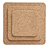 Cork Nature 490526 Square Trivets (Set of 3), 6''/8''/10''