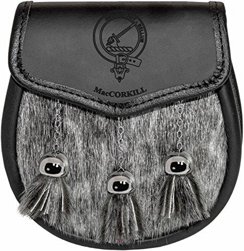 MacCorkill Semi Sporran Fur Plain Leather Flap Scottish Clan Crest
