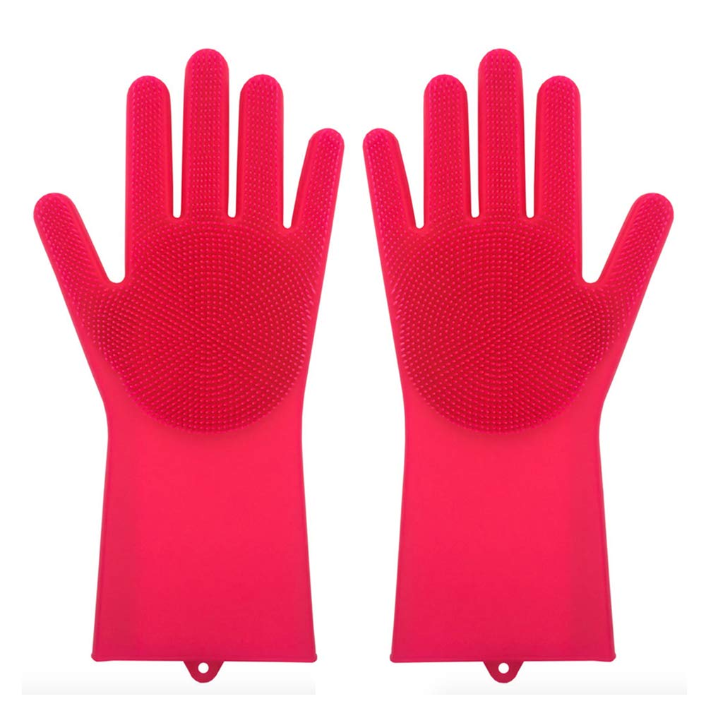 Magic Saksak Reusable Silicone Gloves with Wash Scrubber (13.6