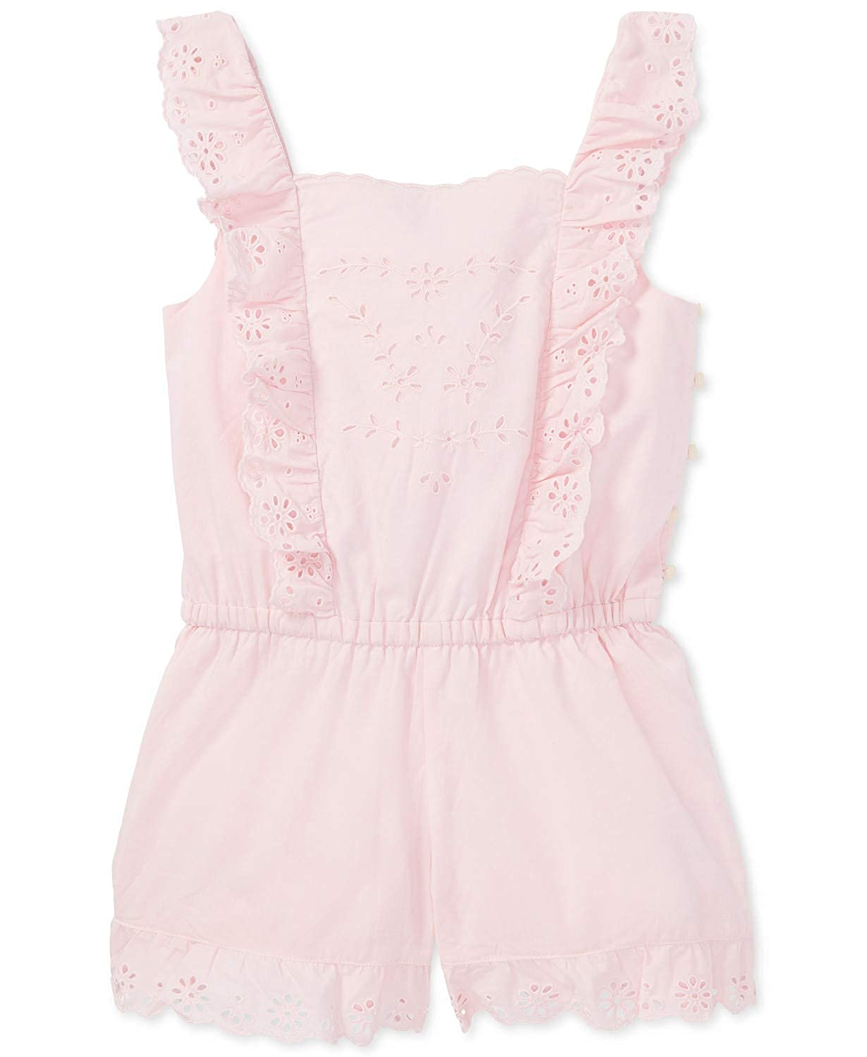 RALPH LAUREN Polo Girls Sleeveless Eyelet Ruffled Cotton Romper 8