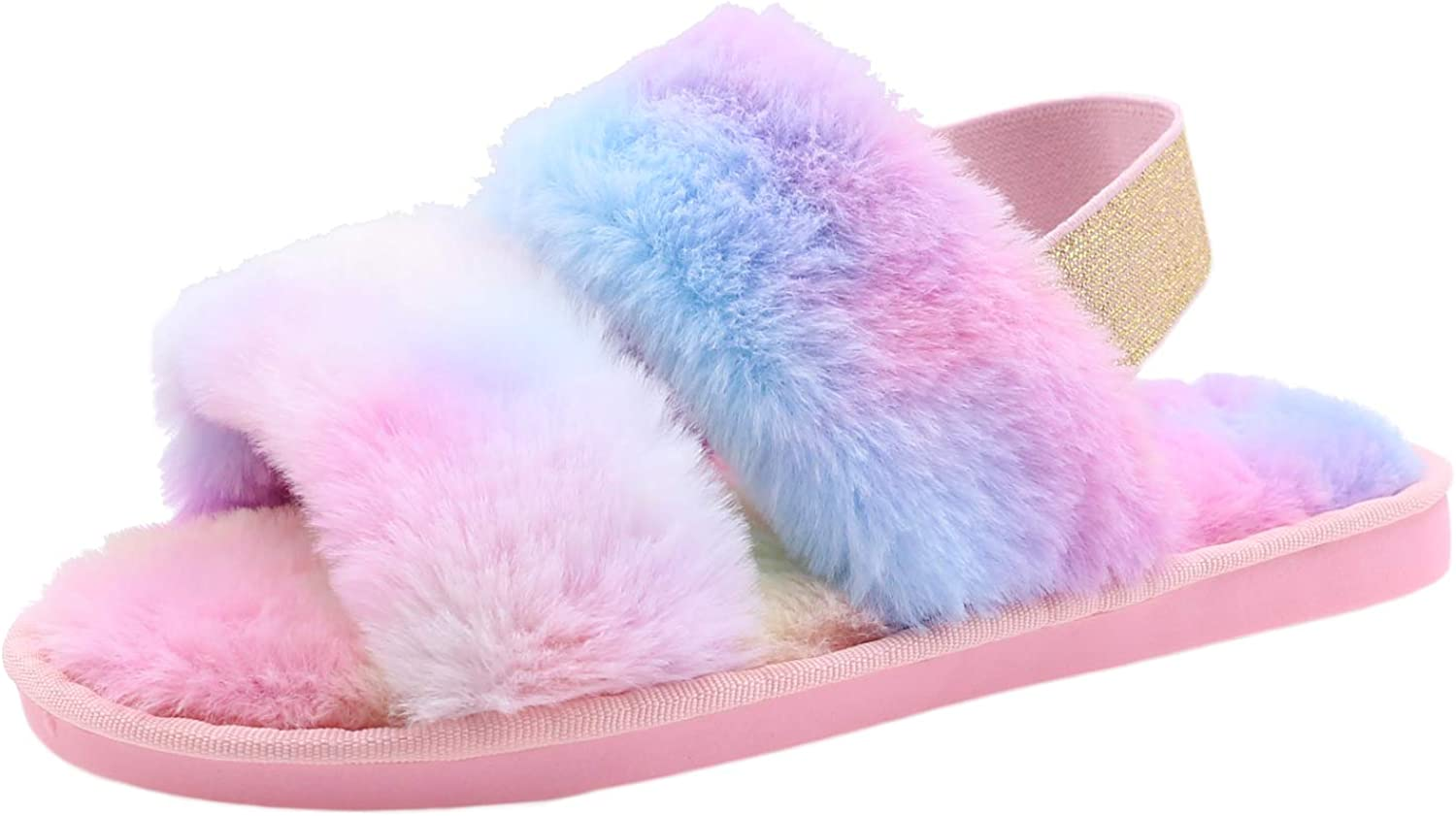 Women's House Fuzzy Slipper Fluffy Sandals Slides Leopard Print Soft Warm Comfy Cozy Bedroom Open Toe House Indoor Outdoor Slippers Sandals with Elastic Strap (Rainbow, Numeric_5)
