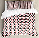 Lunarable Poker King Size Duvet Cover Set, Grunge Inspirations in Card Suits Geometric Pattern Gambling Themed Illustration, Decorative 3 Piece Bedding Set with 2 Pillow Shams, Red Black White