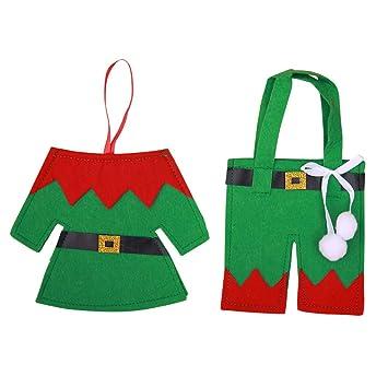 BESTOYARD 3 juegos de navidad cubiertos de plata bolsillos elf ropa pantalones traje traje traje de