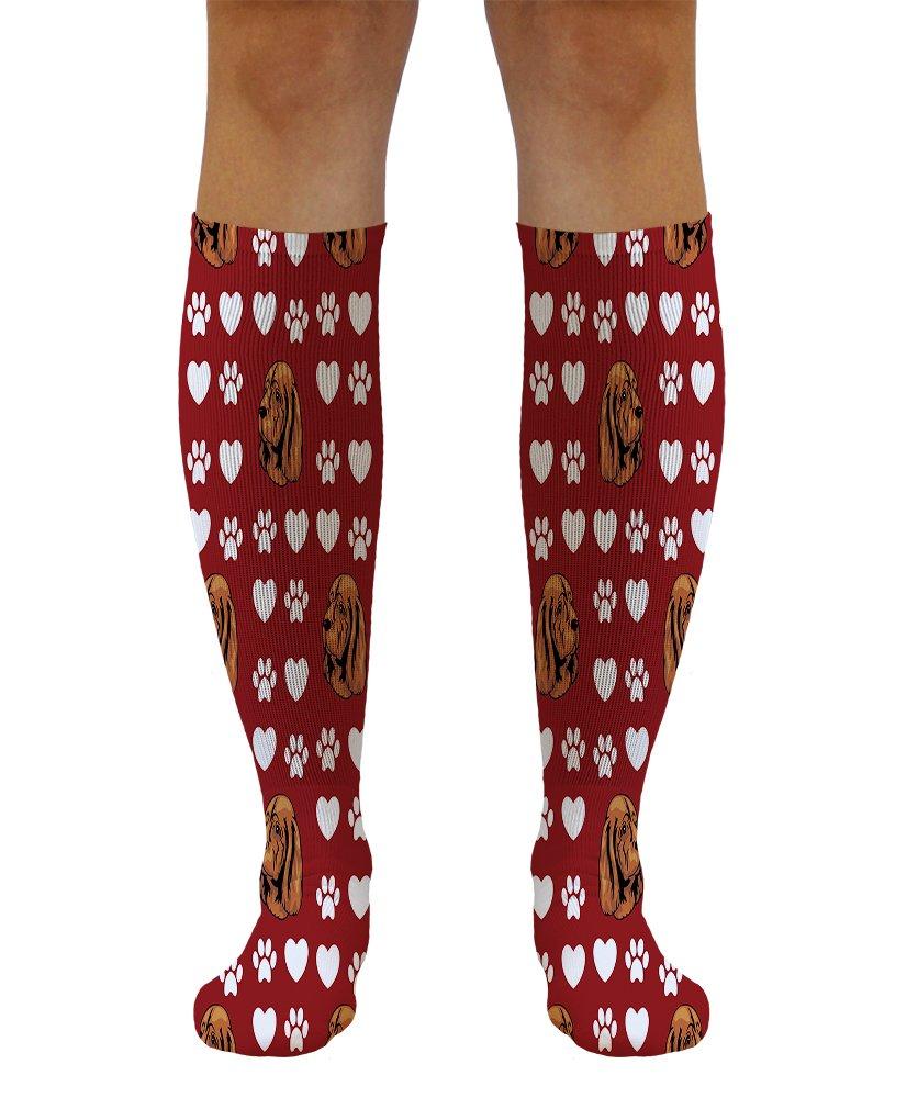 Funny Knee High Socks Sussex Spaniel Dog Red Paw Heart Tube Women & Men 1 Size 1