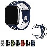 Vandarui Fitbit Versa Cinturino Morbido Silicone Sostituzione Regolabile Sport Della Fascia Della Cinghia Smartwatch Cardiaca Fitness Wristband (Grande, Blu/Bianca)
