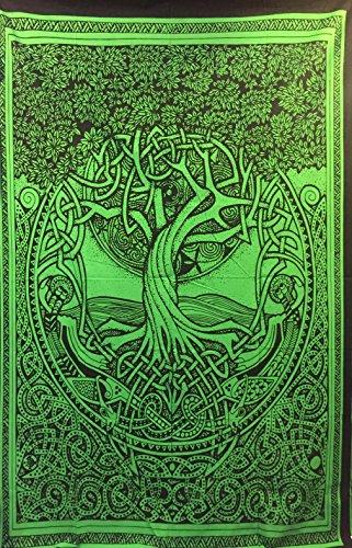 "Courtney Davis Green Tree of Life Tapestry/bedspread 52"" X 7"