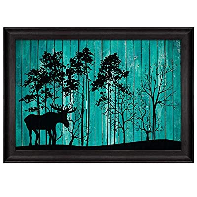 Grand Style, Illustration of Silhouette of Trees in The Park Over Teal Wooden Panels Nature Framed Art, Crafted to Perfection