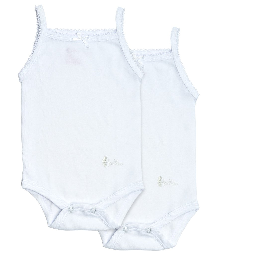 Feathers Baby Girls 100% Cotton Super Soft Camisole Onesies 2-Pack