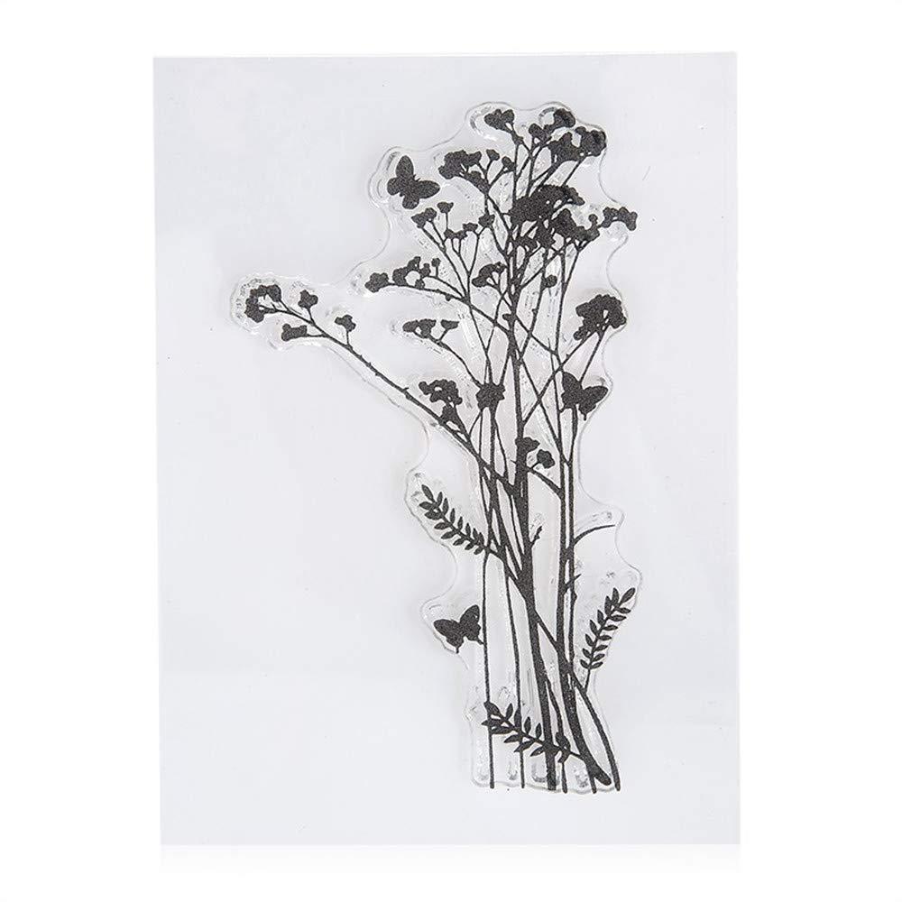 Juego de 4 sellos de hojas de lavanda con dise/ño de diente de le/ón para /álbumes de recortes tarjetas decorativas sellos de goma