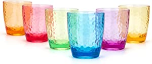 Hammered 15-ounce Plastic Tumbler Acrylic Glasses, set of 6 Multicolor