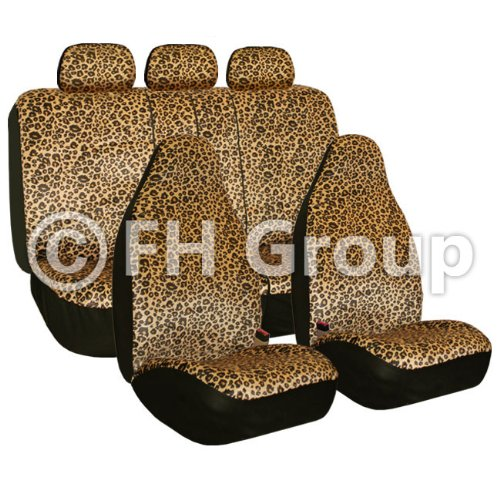FH Group FB125BROWN115 Brown Classic Leopard Car Seat Cover (Airbag Compatible and Split Bench) - Classic Covers Seat