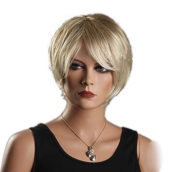 Amazon Com Blonde Cool Short Bob Gold Slight Curly Wave Side Swept