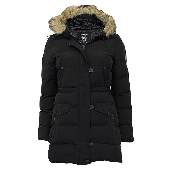 afd72e11cd1 Brave Soul Ladies Parka Jacket Womens Coat Padded Hoodie Fur Belt Puffer  Lined