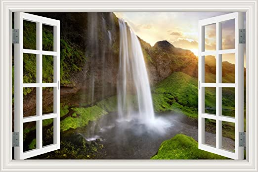 Amazon Com Greathomeart 3d Vinyl Wall Decals Nature Waterfall Wall Sticker Window View Removable Wallpaper Adhesive Peel And Stick For Bedroom Living Room Decor Art 32 X48 Home Kitchen