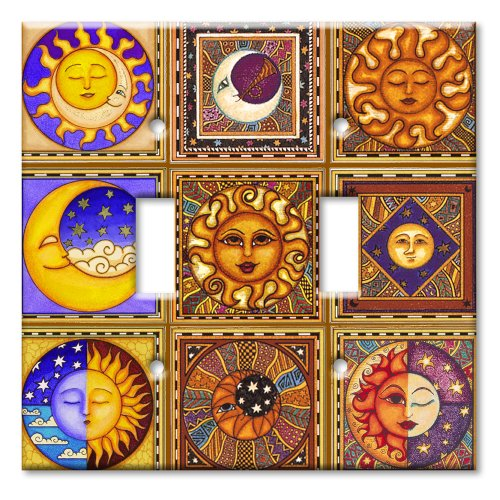 Art Plates / Double Gang Toggle Switch Plate / Celestials (Design Double Switchplate)